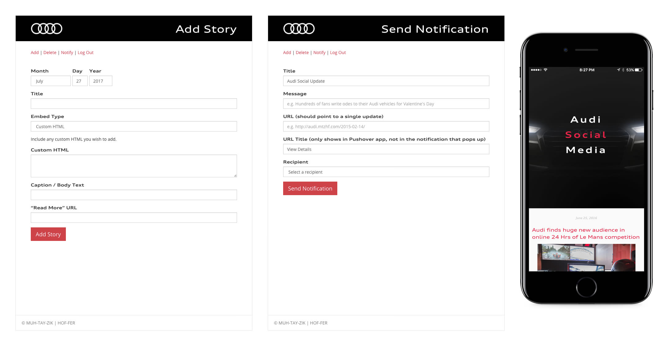 Audi CMS screenshot